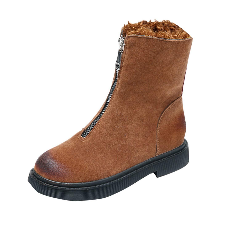 Amazon.com | Women Winter Warm Snow Boots Mid-Calf Shoes Zip Flat Cotton Boots Non-Slip Shoe Botines, Brown, 38, C | Shoes