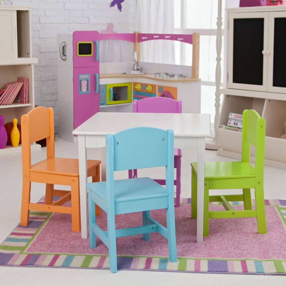 Highest Rated Most Popular Kids Toddler Wooden Table Chairs Fun Work Activity Station- Beautiful Bright Pastel Colors- Perfect For Tea Parties Homework Games Hobbies More- Fun For Boys Girls All Ages