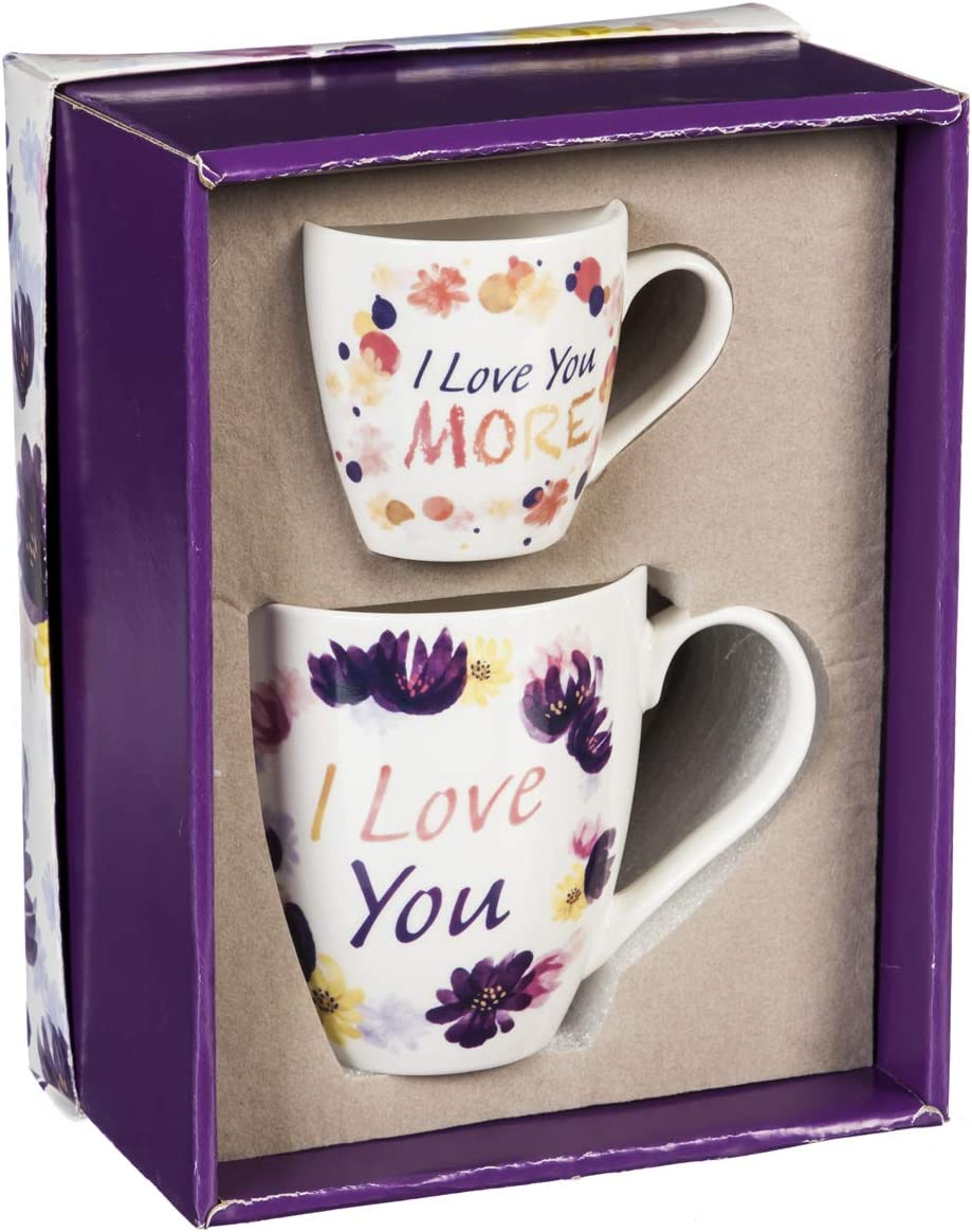 I Love You Mommy and Me Ceramic Cup Set - 6 x 4 x 4 Inches