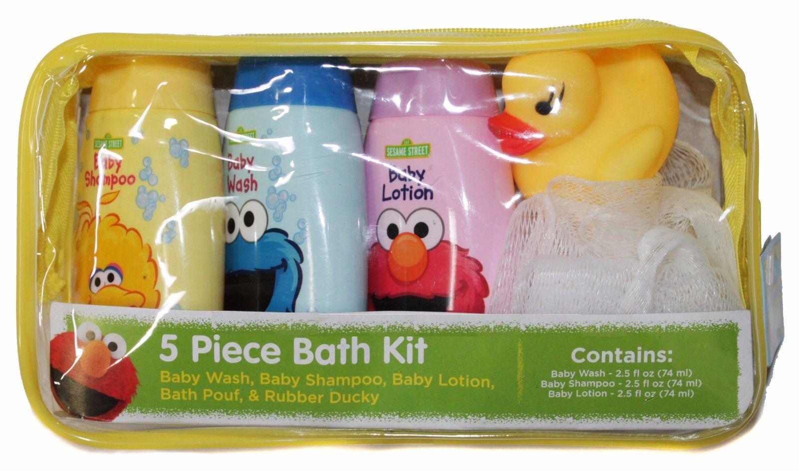 Children Sesame Kids Baby Bubble Bath Shampoo Body Wash Lotion Travel Set w/Mini Sponge Squeaky Yellow Rubber Duck Toy Shower Gift Set