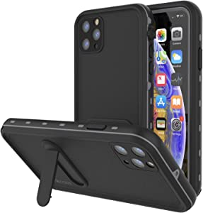 Punkcase iPhone 11 Pro Max Waterproof Case [KickStud Series] Slim Fit IP68 Certified [Shockproof] Armor Cover W/Built-in Screen Protector + Kickstand Compatible with Apple iPhone 11 Pro Max [Black]