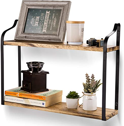 SANDY ANANKE 2-Tier Floating Wall Mount Shelves, Book Shelves with Large Storage, Rustic Wood Shelves Perfect for Pantry Living Room Bedroom Kitchen, Carbonized Black