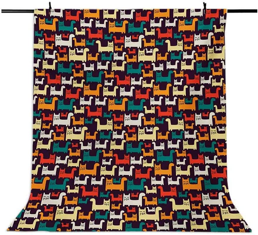 Cats 6.5x10 FT Backdrop Photographers,Cartoon Style Funny Kittens in Lively Colors Domestic Feline Animal Pets for Kids Background for Photography Kids Adult Photo Booth Video Shoot Vinyl Studio Props