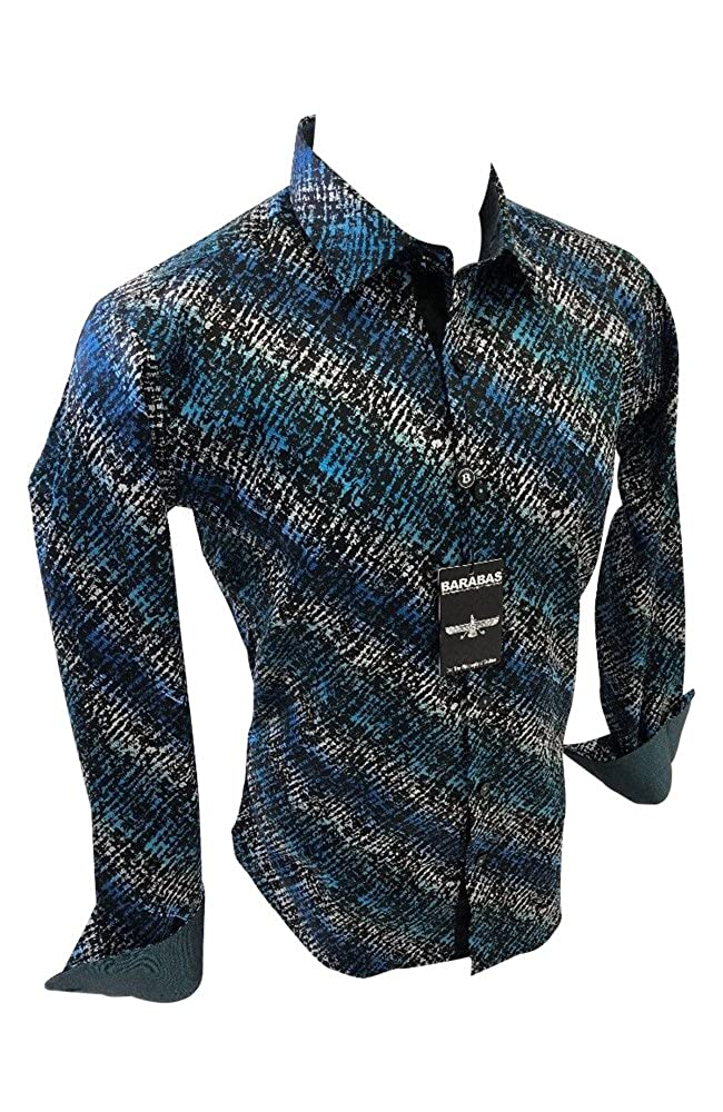 Mens Barabas Designer Woven Dress Shirt Teal Blue Multicolor Abstract Geometric Design Classic Fit 9033