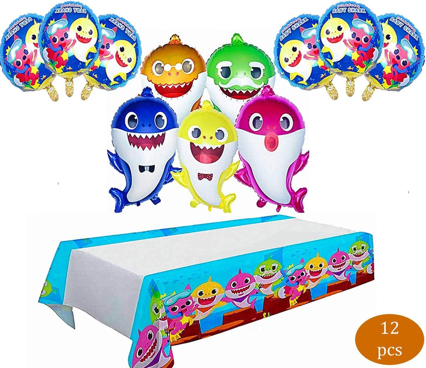 12 PCS Baby Shark Balloons|5pcs Shark Family Balloons|6 pcs Baby Shark Duplex Prints Foil Balloons|Baby Shark Tablecloth|Baby Shark Birthday Decorations