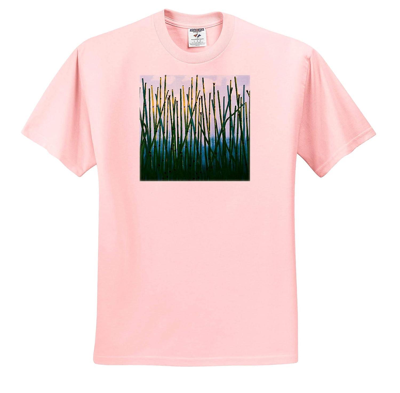 Adult T-Shirt XL Photo Glass Art ts/_318340 Image of Green Reeds Thru Glass Photo 3dRose Lens Art by Florene