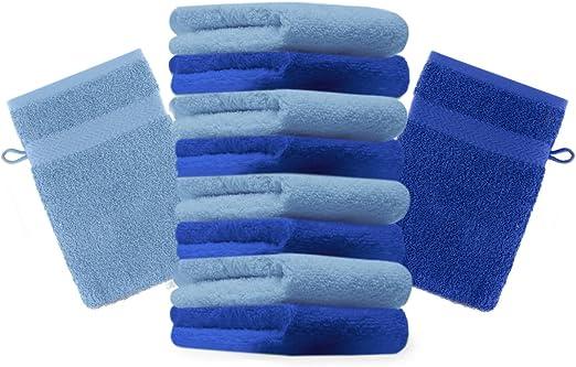 Betz 10 Manoplas de baño Premium 100% algodón 16x21cm en Azul y Azul Claro: Amazon.es: Hogar