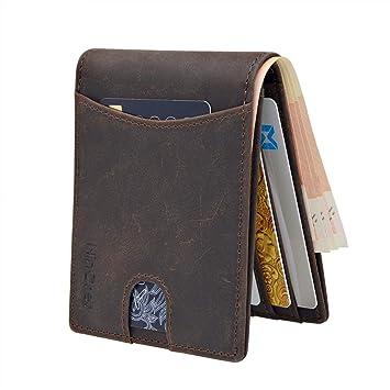 54b474d061f13 WinCret Slim Wallet Mini Geldbörse Herren - Klein RFID Geldbeutel Männer  mit Münzfach und 6 Kartenfäche