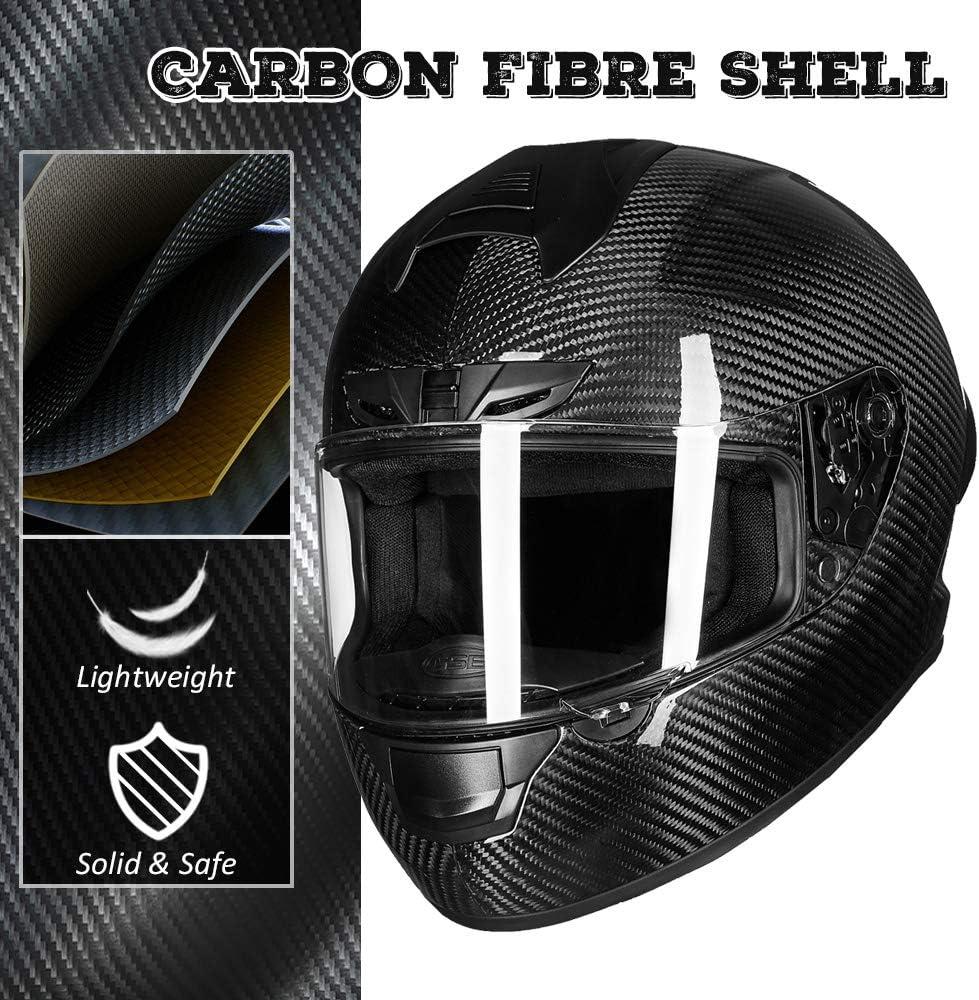 ILM Motorcycle Bike Helmet Full Face Carbon Fiber Shell for Men Women DOT Approved