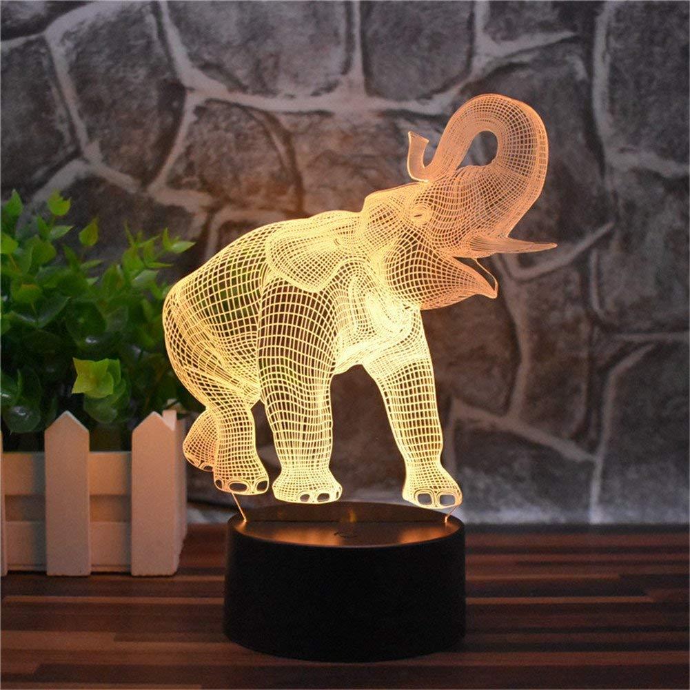 Umgebungslicht, Kunstwerk Elefant Kreative Nachtlicht 3D LED Home Office Dekoration Nachttischlampe Touch Fernbedienung 16 Farbe Acryl USB   Batterie Kreative Kinder Spielzeug Geschenke (Elefant) Stim