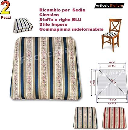 FACILCASA Seduta in Stoffa, Fondino Imbottito, Seduta di Ricambio per Sedia Classica, Righe Impero (cm 37,5 X 33)