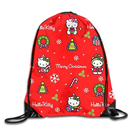 689532271 Image Unavailable. Image not available for. Color: Meirdre Unisex Hello  Kitty Christmas Sports Drawstring Backpack Gym Bag
