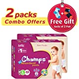 Champs High Absorbent Wonder Pant Style Diaper, Large - Pack of 2