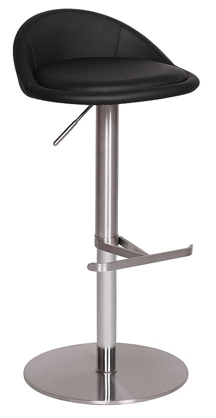 Wohnling Durable M1, Barhocker Mit Silberfarbenem Edelstahlgestell, Design  Hocker Mit Kunstlederbezug In Schwarz,
