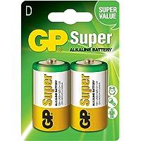 Gp Batteries Gp13A Süper Alkalin Lr20/E95/D Kalın Pil, 1.5 Volt, 2'Li Kart