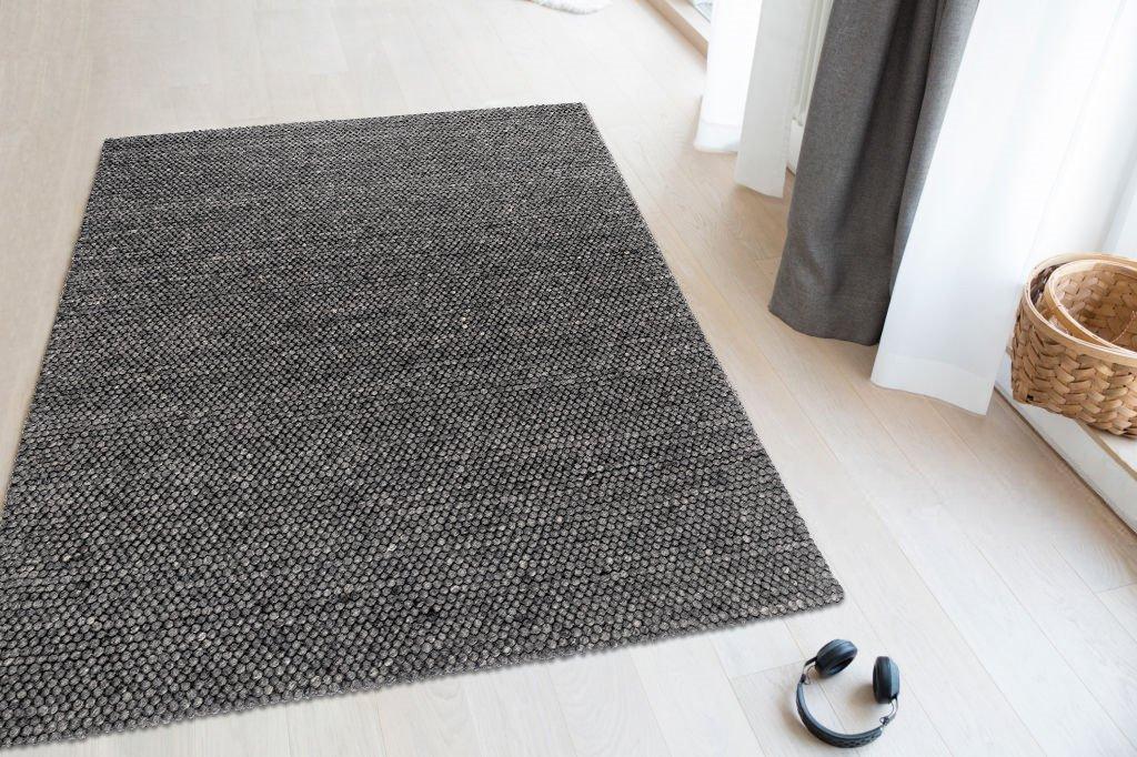Trend-Teppiche Teppich Tessin Handgewebt Verschiedene neutrale Farben Wolle Jute Baumwolle Wohnzimmer, Größe:80x150, Form:Rechteckig, Farbe:Dunkelgrau
