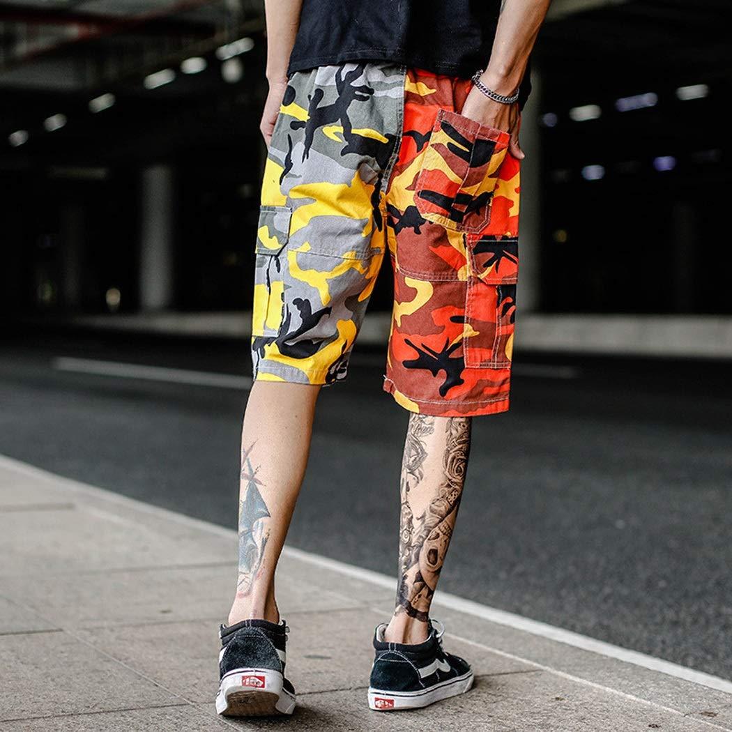 color : P/úrpura-M Pantalones Cortos De Verano De Los Hombres Pantalones Cortos De Camuflaje Pantalones Deportivos Camuflaje M/últiples Bolsos Overol S-XXXL