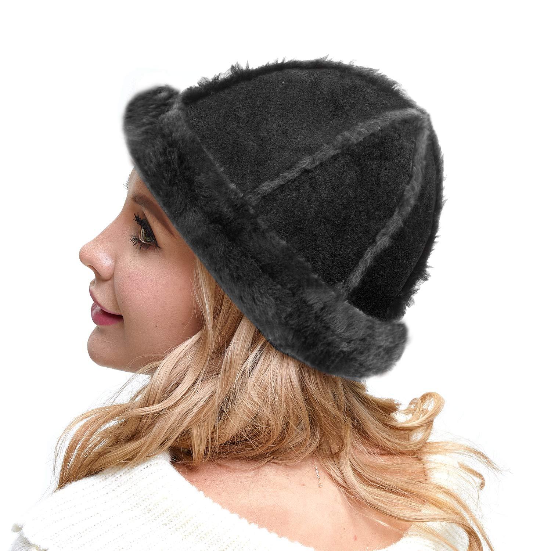 IKEPOD Australia Shearing Sheepskin Lined Suede Bucket Hat Winter - Black