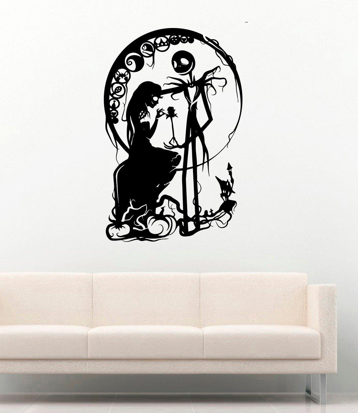 Monster Dead Horror Vinyl Wall Decals Jack Skellington and Girl Silhouette Halloween Decor Stickers Vinyl Mural MK4431