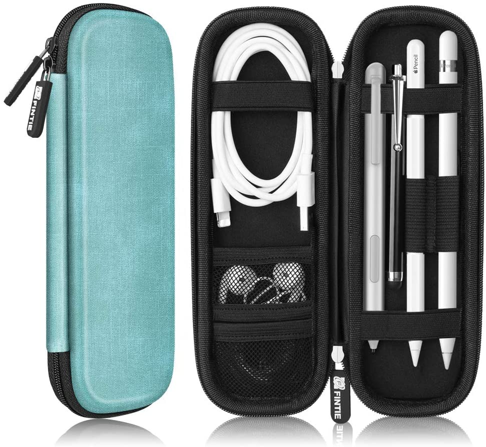 Fintie Holder Case for Apple Pencil 1st 2nd Gen, PU Leather Carrying Bag Sleeve for iPad Pro, iPad 2020 Pencil, Apple Pen Accessories, USB Cable, Earphone, Samsung Stylus, Turquoise