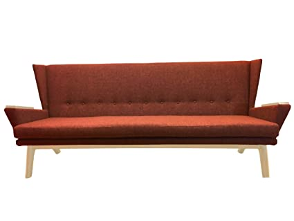 Rust Orange Upholstered Mid Century Modern 90 Inch Sofa Grey Couch  Davenport Bench Seat Contemporary MCM