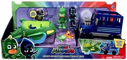 PJMASK GEKKO-MOBILE AND NIGHT NINJAS BUS.