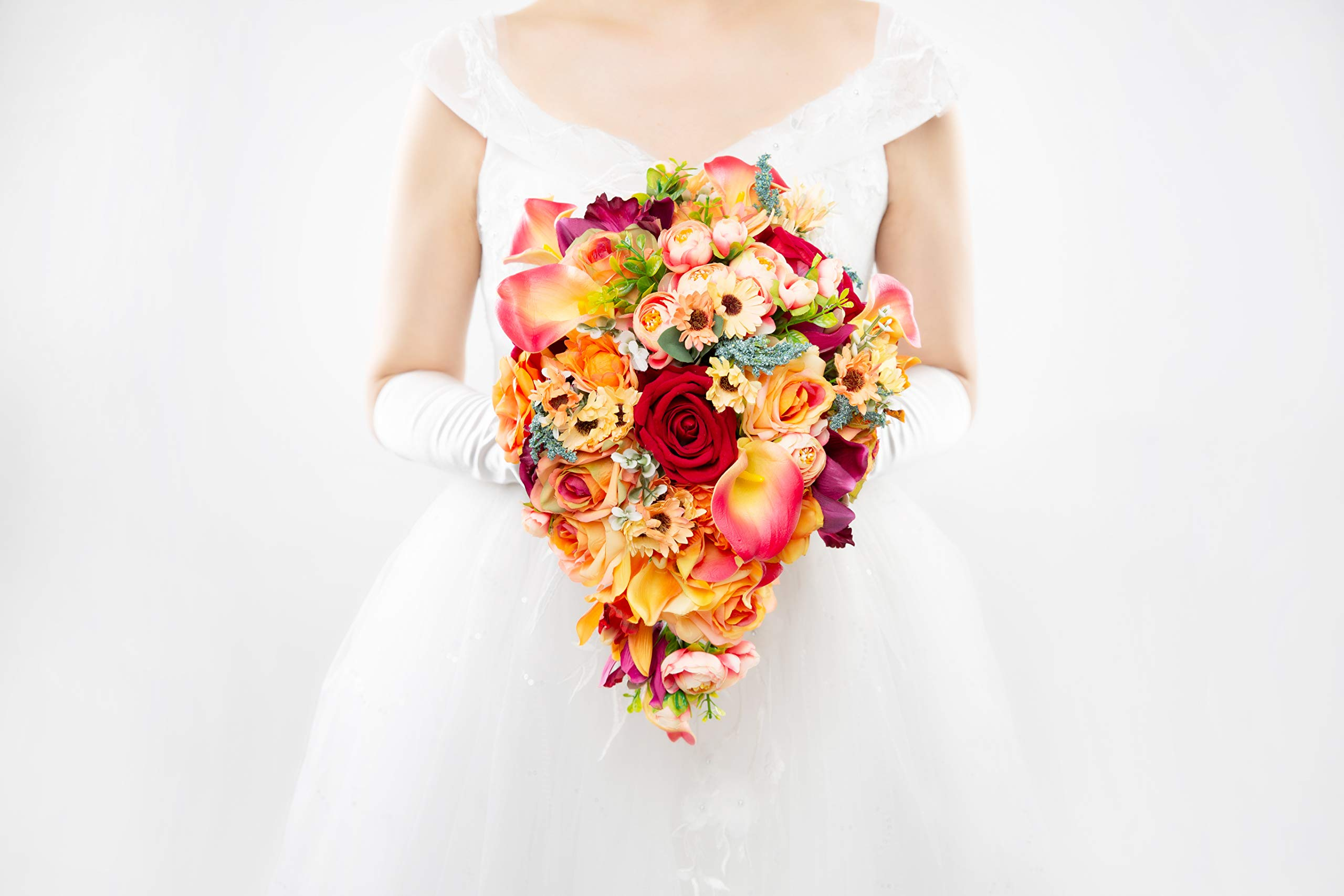 Abbie Home Cascading Bridal Bouquet - Red Rose Champagne Orange Gradient Calla Lily Bride Flowers for Garden Wedding (A Cascading Bouquet) by Abbie Home