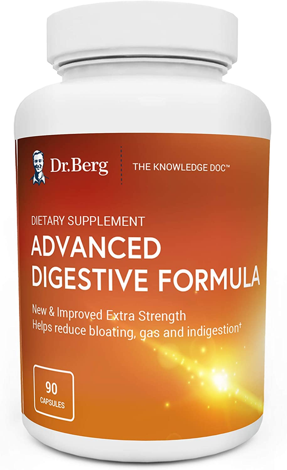 Dr. Berg's Advanced Digestive Formula Extra Strength - Contains Both Apple Cider Vinegar Powder + Betaine Hydrochloride - Helps Healthy Digestion, Helps Reduce Gas and Bloating - 90 Capsules