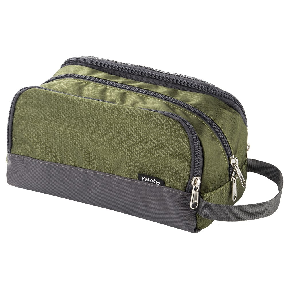 Shower Bag, Yeiotsy Travel Toiletry Organizer Small Toiletry Bag Unisex Gym Bag (Army Green)