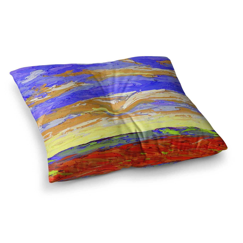 26 Round Floor Pillow Kess InHouse Jeff Ferst After The Storm Blue Yellow