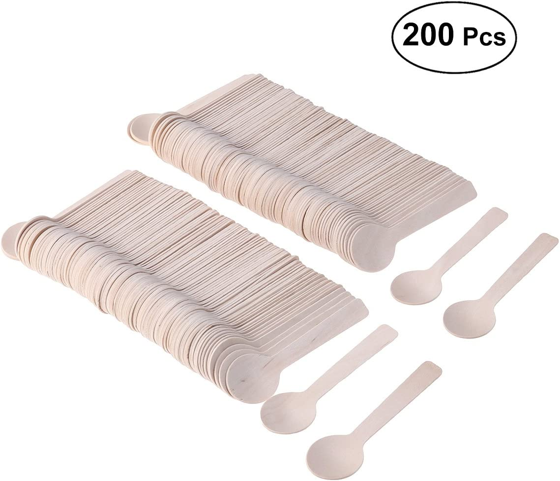Ice Cream or Spices Perfect for Sampling Food Frozen Dessert Supplies BESTONZON 100pcs Mini Wooden Spoons Wooden Ice Cream Spoons Ice Cream Paddle Spoon,Eco Friendly Taster Spoons