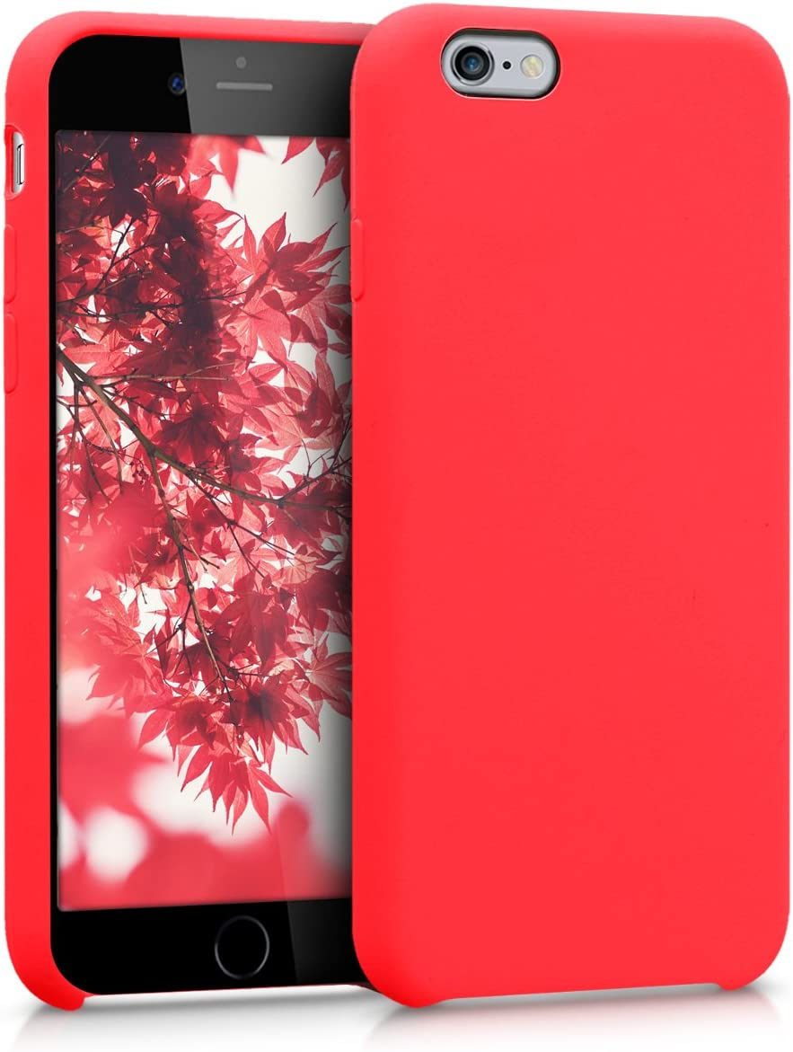 kwmobile TPU Silicone Case for Apple iPhone 6 / 6S - Case Slim Protective Phone Cover with Soft Finish - Neon Red