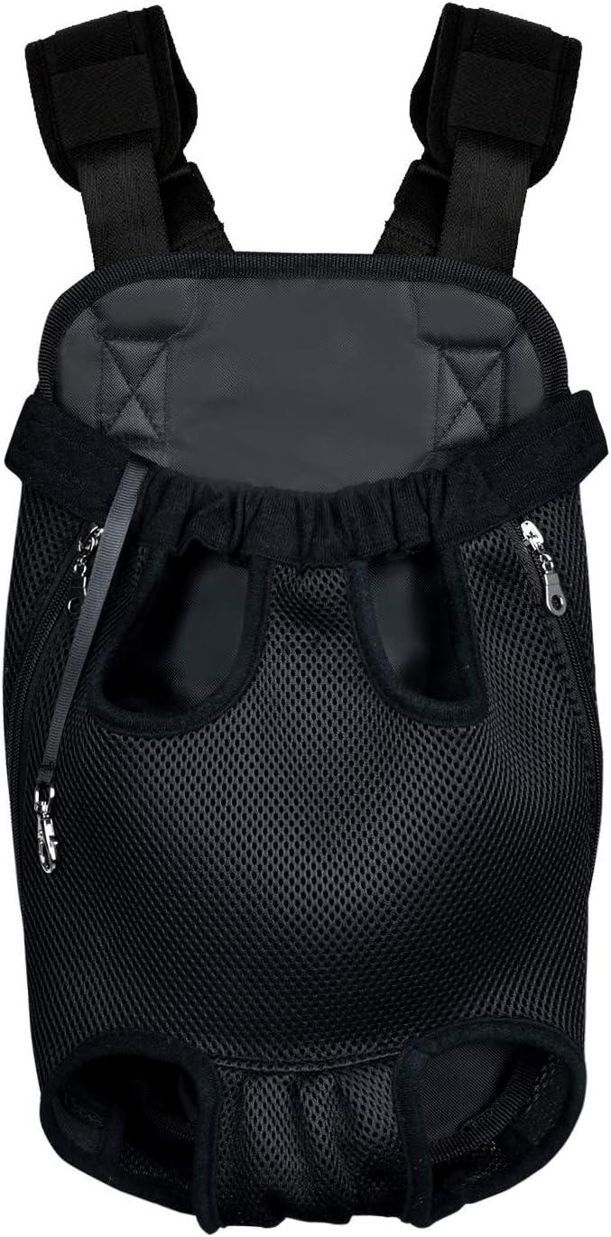 Homieco Mochila para Perro, Bolso para Perros, Adjustable Bolsa Delantera Pet Front Cat Dog Carrier Backpack, Mochila del Mascotas de Transporte para Viajar/Senderismo/Camping - Negro