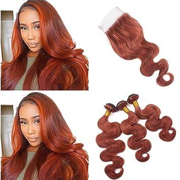 Amazon Com Zara Hair Dark Auburn Hair Bundles With Closure Copper