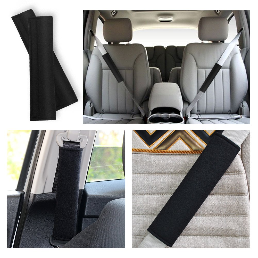 Seat Belt Shoulder Strap Covers Harness Pads for Car//Bag,Soft Comfort Helps Protect You Neck and Shoulder from The Seatbelt Rubbing//Lrritation SUNTA Seatbelt Pads,Car Belt Protector Black 2-Pack