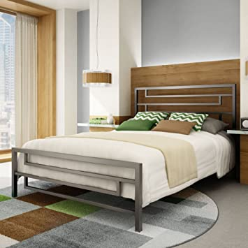 Amisco Temple Metal Bed Full Size 54 Magnetite Glossy Grey