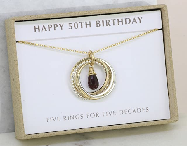 50th Birthday Gift Garnet Necklace For Her January Birthstone Sister Best Friend
