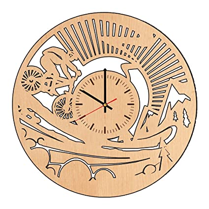 e70bbade4 Image Unavailable. Image not available for. Color  Bike Sport Nature  Mountain Handmade Wood Wall Clock - Modern ...