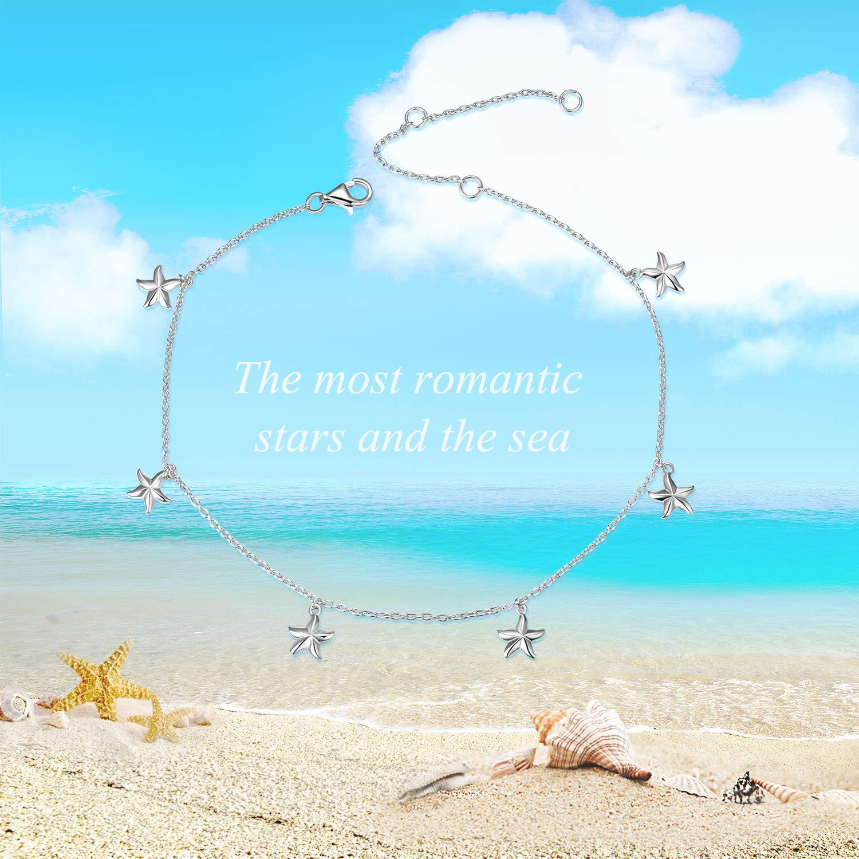YFN Boho Beach Starfish Ankle Charm Bracelet Sterling Silver Anklet Chain Bracelet Beach Foot Jewelry for Women Little Girls (Starfish Ankle Bracelet) by YFN (Image #3)