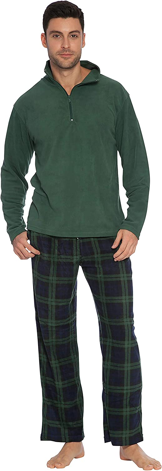 INTIMO Men's Green Zipper Top Pajama Set