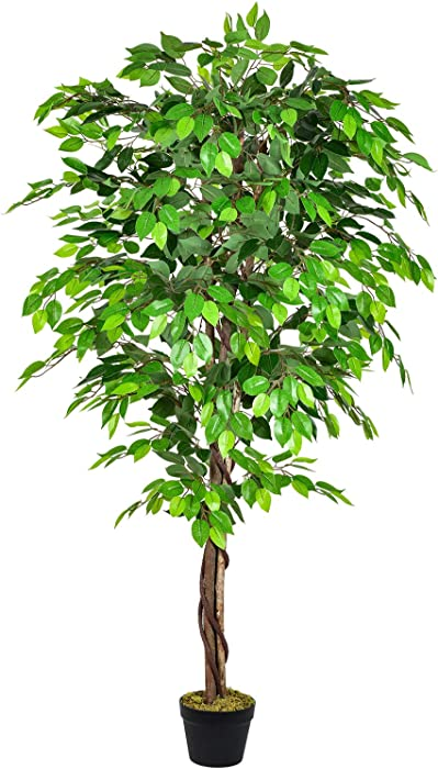 DearHouse 5.6ft Ficus Silk Tree, Artificial Tree Ficus Tree with Natural Trunk andPlastic Nursery Pot, Fake Plant for Living Room Balcony Corner Decor,Indoor-Outdoor Use