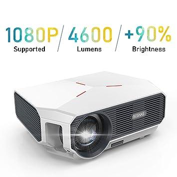 Proyector, 4600 Lúmenes Proyector Full HD Soporta 1920 x 1080P Proyector Cine en Casa Sonido Hi-Fi Proyector LED 60000 Horas Bajo Ruido Video Fluido ...