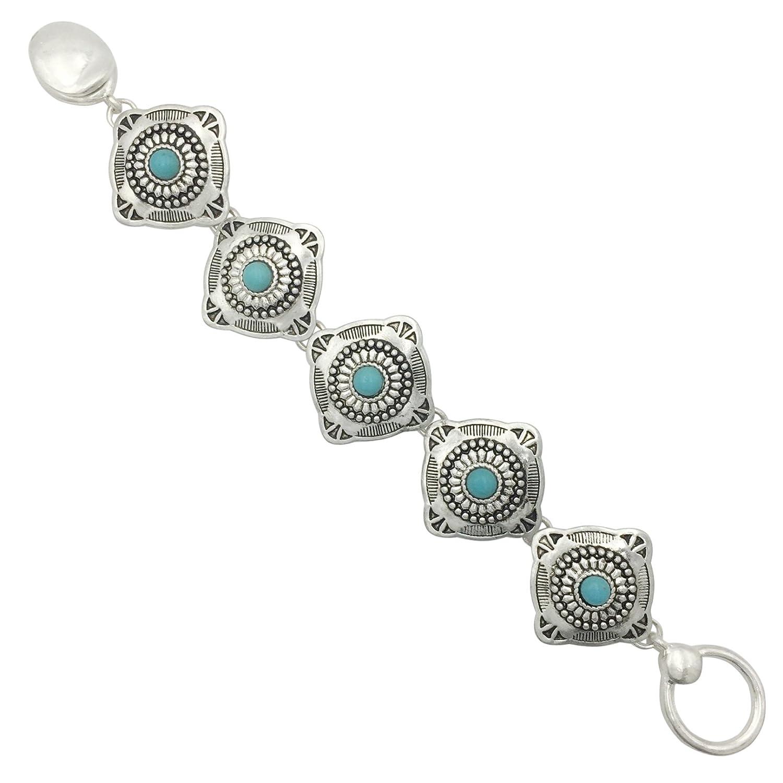 Western Style Silver Tone Clasp Bracelet Gypsy Jewels A1