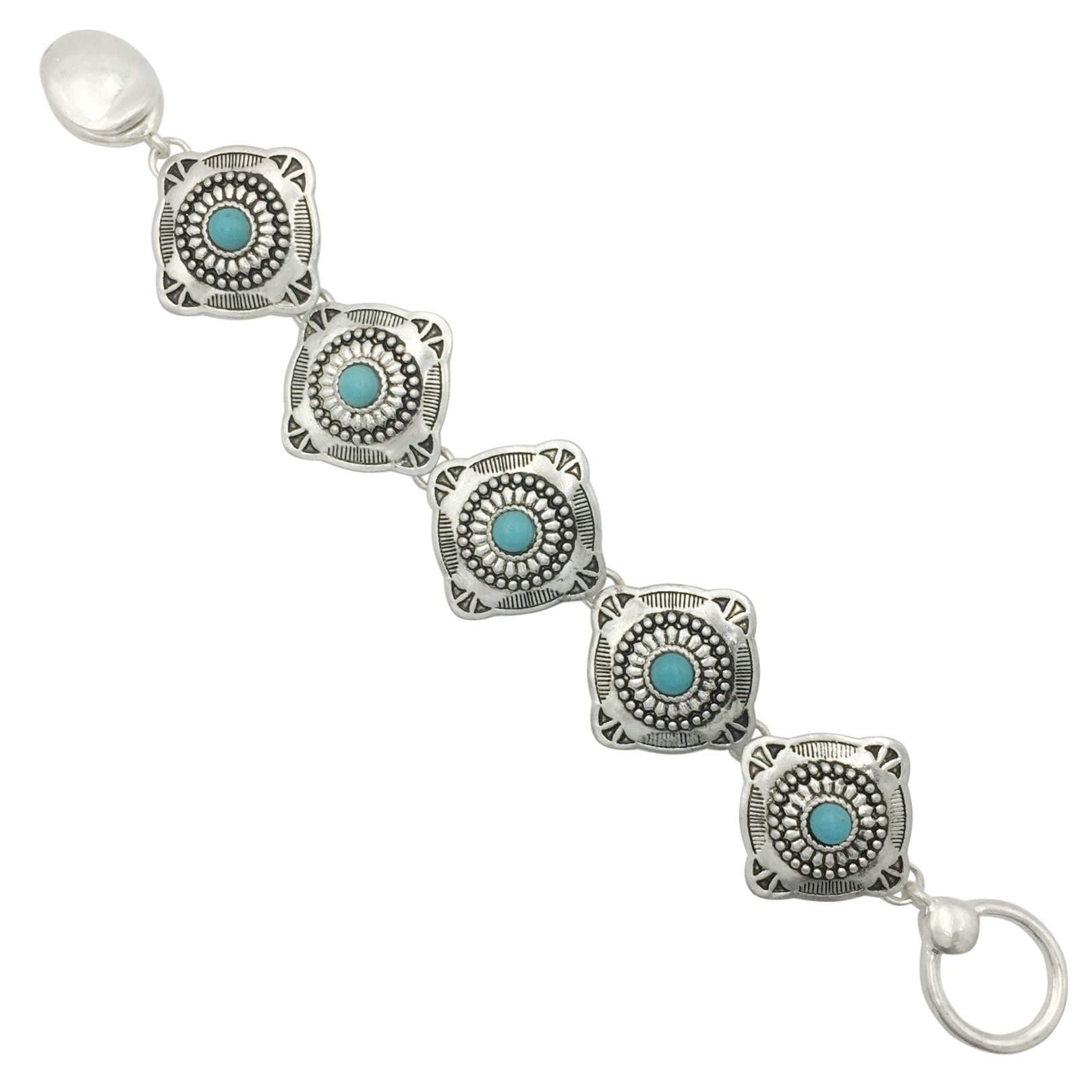Western Style Silver Tone Clasp Bracelet (Imitation Turquoise Square concho)