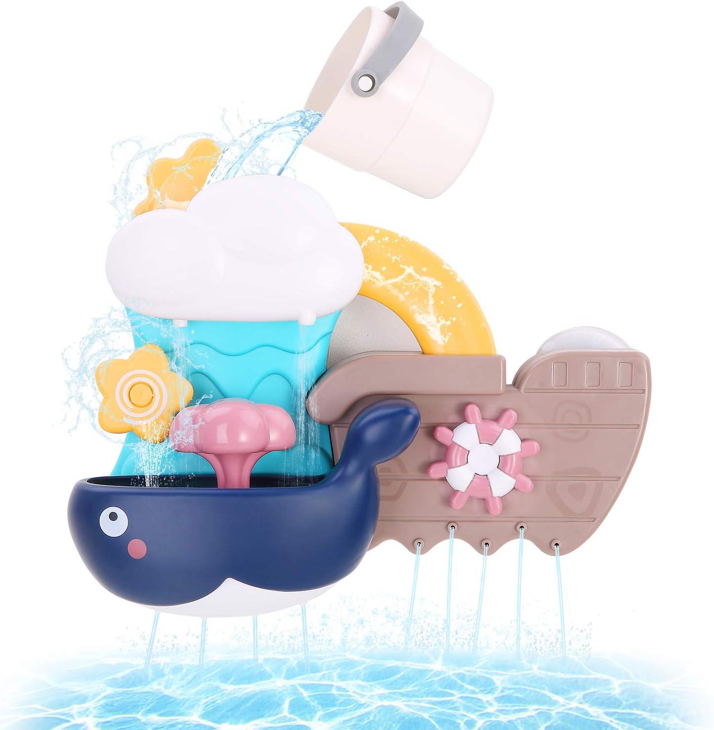 BBLIKE Juguetes Bañera, Bebé baño Cascada Llenar y Flujo Juguetes de baño Divertidos Ducha Regalo para niños de 1 2 3 y 4 años