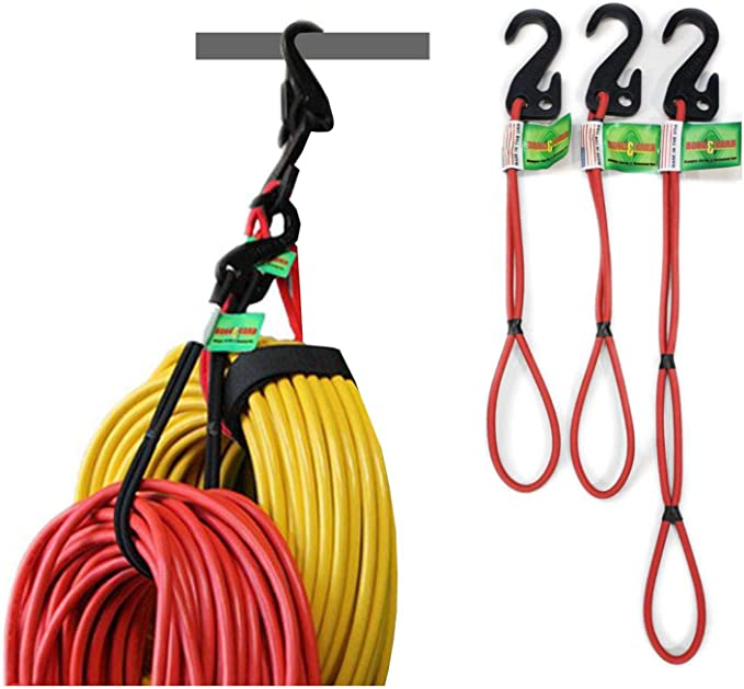 Hook & Hang Bungee Cords - Storage & Organization Cords - Hang Hoses, Cords, Ladders, Bikes, Tools & More. an Incredible Organizer! (3 PK , Red)