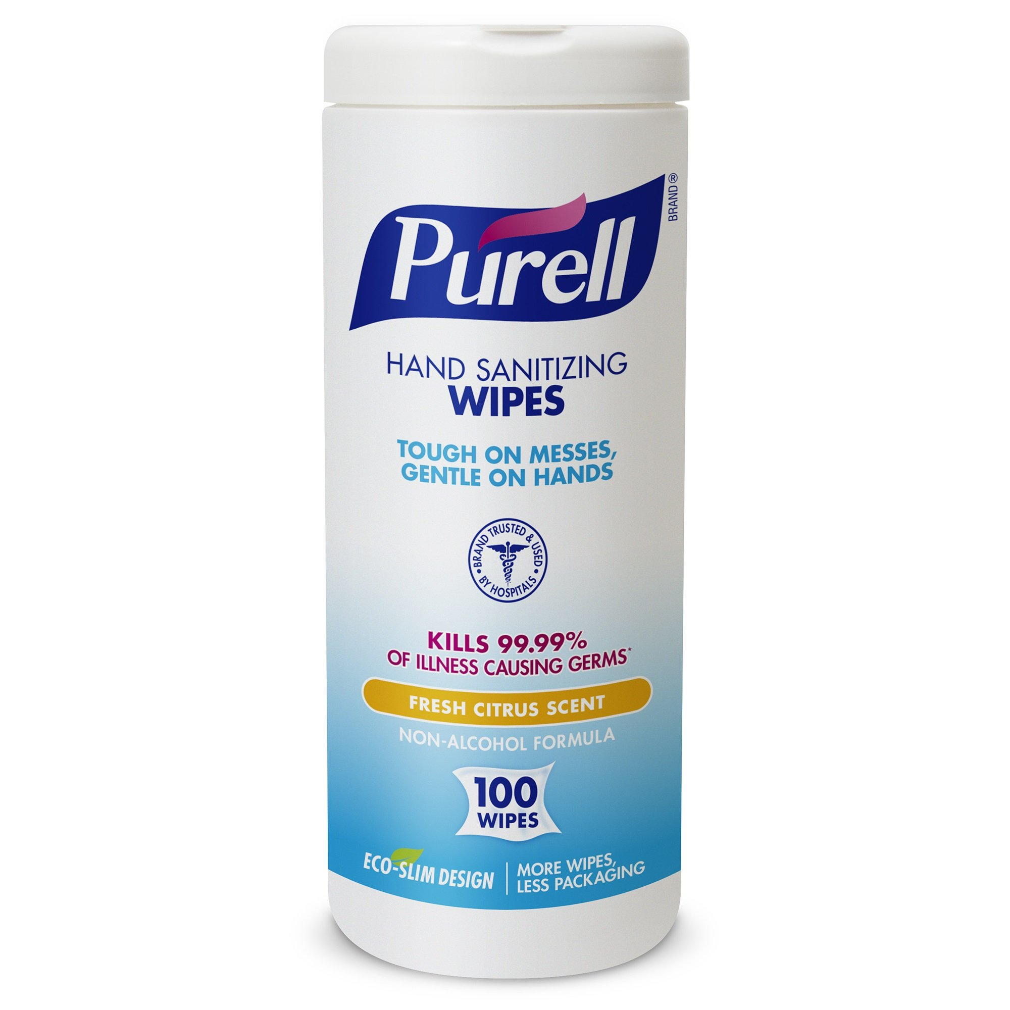 PURELL 9111-04-EC Sanitizing Wipes, 100 Count Canister (Case of 4)