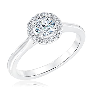 7f8ed5bd6f3f Amazon.com  REEDS Exclusive Signature Round Diamond Halo Ring 5 8ctw ...