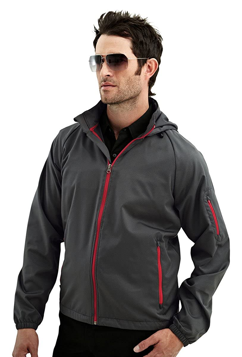 Tri-Mountain TMR Racing Lightweight Waterproof Mini-Grid Dobby Hooded Jacket