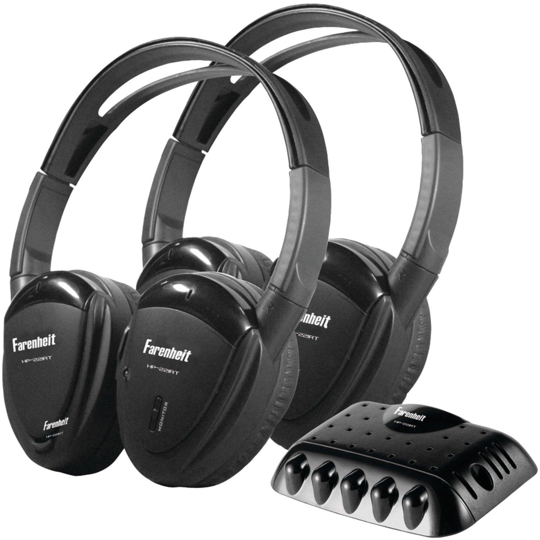 Power Acoustik Farenheit HP-22IRT 2 Swivel Ear Pad Single Channel Infrared Wireless Headphones with Transmitter by Power Acoustik